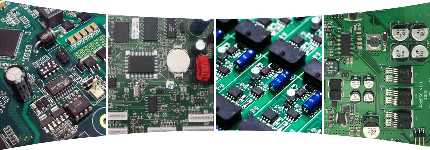 Four PCB Boards that have been assembled
