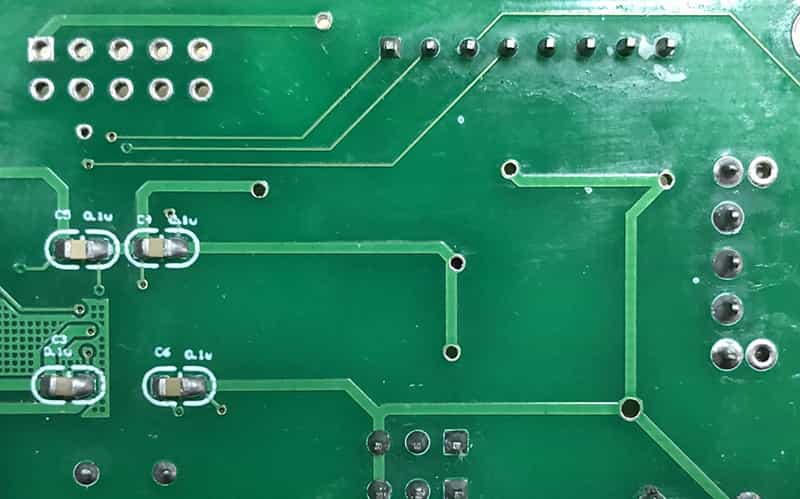 Various holes connect circuits in different layers