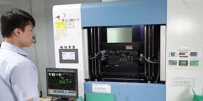 PCB Bare Board is Undergoing Flying Probe Test