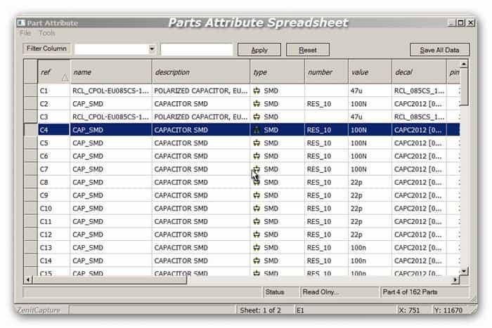 Schematic Parts Attribute Spreadsheet