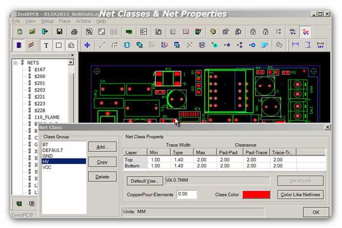 ZenitPCB Net Classes